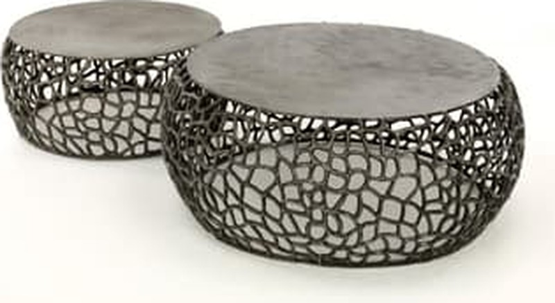 10x Ronde Salontafel : Salontafel set 2 maze zandgegoten zwart nikkel nordstål design