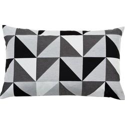 Kissen Geometric - Mischgewebe - Schwarz / Weiß - 30 x 50 cm