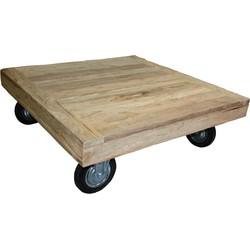 Salontafel met wielen Rustiek - 100x100 cm - blank - teak