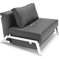 Innovation Slaapbank Cubed 90 - Kunstleer 582 Zwart - Chromen Poten