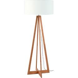 Vloerlamp bamboe Everest, linnen wit