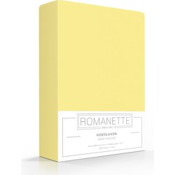 Romanette Hoeslaken Hoge hoek geel 100% Katoen 1-persoons XXL 90x220