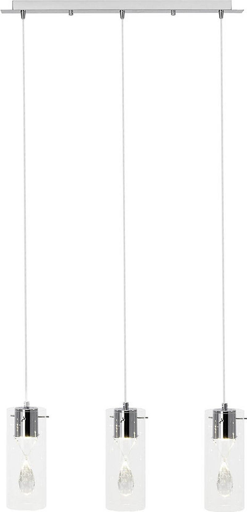 Brilliant Leuchten Razgar Pendelleuchte, 3-flammig chrom/transparent -