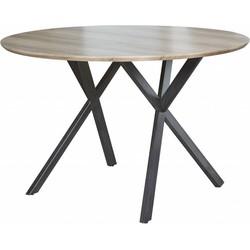 Eettafel - rond -  dia 120 cm - eiken fineer antiquewash - zwart gepoedercoat metalen frame