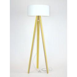 Lamp Wanda geel multiplex met witte kap en transparante kabel