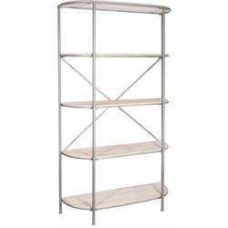 Industry - Rek - 5 houten legplanken - afgerond - white wash - grijs - metalen frame
