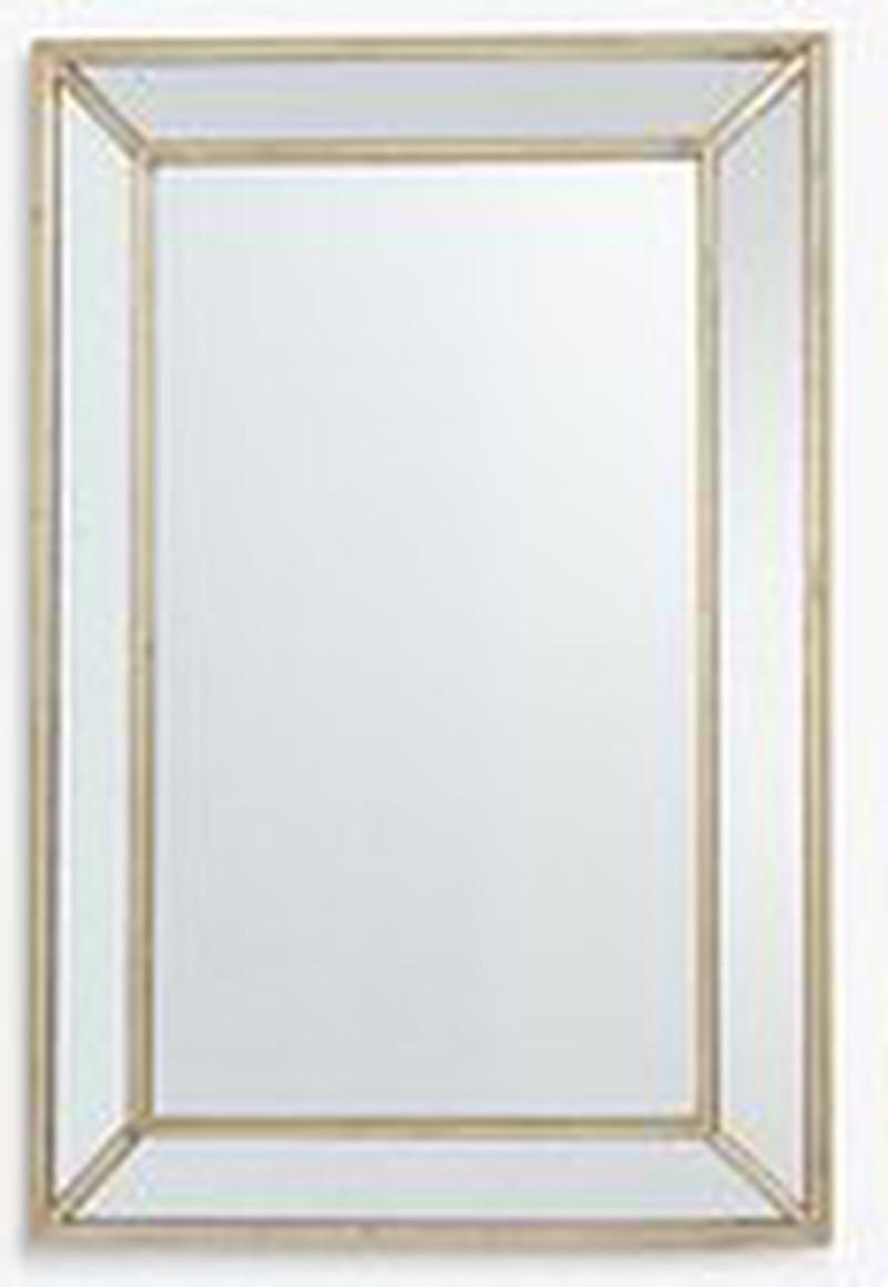 John Lewis & Partners Audrey Faceted Rectangular Mirror, 120 x 80cm, Antique Silver -