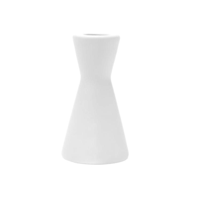 Laura kandelaar - Mat wit - 6,5 x 12 cm -