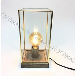 Lamp metalen frame/houten voet 15x15x30 cm