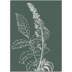 Vintage bloem blad poster - Groen - Puur Natuur Botanische poster - A2 + Fotolijst zwart