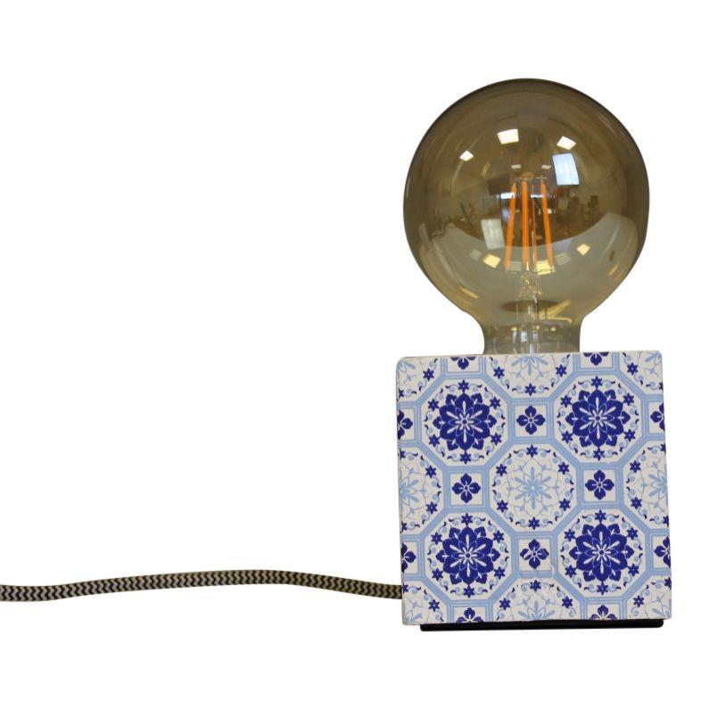 Blok Lamp-10x10cm-incl. grote gloeilamp-Mozaïek-Blauw-Housevitamin -