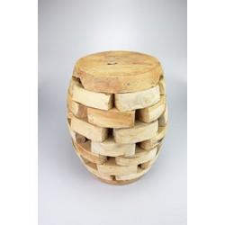 Originele handmade teakhout kruk