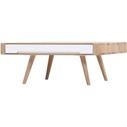 Ena Club Table - Houten salontafel - Whitewash - L90 x B90 x H35 cm