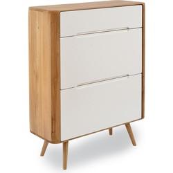 Ena Shoe Cabinet - Houten Schoenenkast - Naturel - B90 x H110 x D35 cm