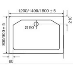 Ben Inloopdouche 90x200cm Chroom/Helder glas