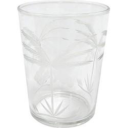 HK-living drinkglas glas gegraveerd palmen 7,5x7,5x9,5cm