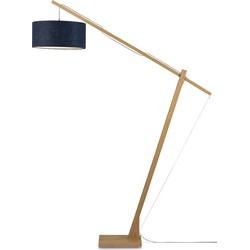 Vloerlamp Montblanc bamboe 4723, linnen blue denim