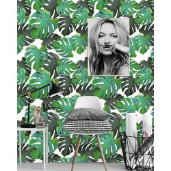 Zelfklevend behang Monstera groen wit 2  122x122 cm