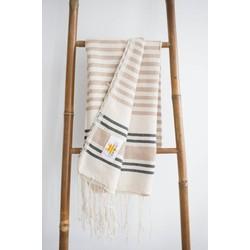 Mycha Ibiza - hamamdoek – streep – beige – 100% handgeweven katoen