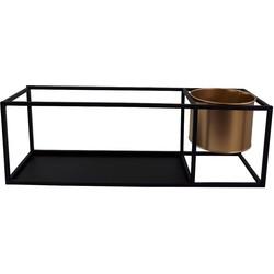 Metalen Wandplank met Pot-51x15x17cm-Zwart/Goud-Housevitamin