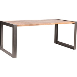 Dining table Factory in size 180 cm by LABEL51 feautures raw mango wood surfaces in combination with a grey vintage frame that wraps around the short sides of the table, making it a sturdy and industrial table. Due to the fascinating textures and pat...