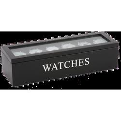 Horloge doos 6 vaks Avantgarde zwart met zilveren letters