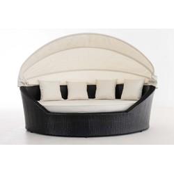 24Designs Ovaal Lounge Ligbed Santorini - Zwart Vlechtwerk - Crème Witte Kussens