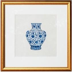 Fine Asianliving Chinese Schilderij Blauwe Vaas Met Lijst