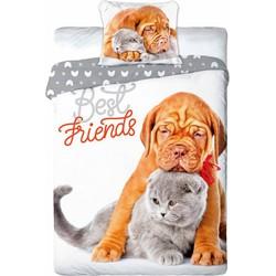 Dekbedovertrek Best Friends - Shar Pei & Britse Korthaar - 140x200cm + 1 Kussensloop