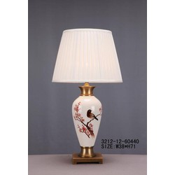 Fine Asianliving Fine Asianliving Oosterse Tafellamp Porselein Wit Bloesems en Vogel