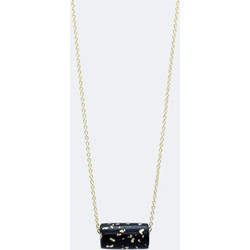 Gold Necklace - Black and Specks Bead