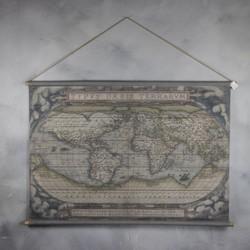Oude wereldkaart 124x85cm