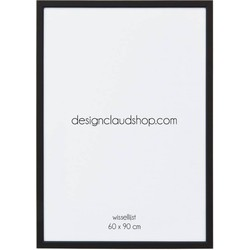 Aluminium wissellijst - Fotolijst met klein facetrandje - Mat zwart - 60x90 cm