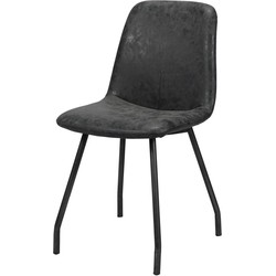 Wax PU - Stoelen - set van 4 - kuip - zwart - poten platte buis-  zwart gepoedercoat - 45x55x86cm