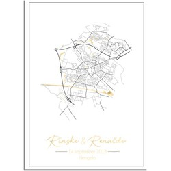 Huwelijksposter Goudfolie / Zilverfolie / Koperfolie Stadskaart - Huwelijkscadeau gepersonaliseerd  - A3 + Fotolijst wit