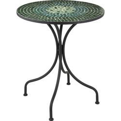 Mosaic - Bistro tafel - rond - glas blad - groene tinten - metalen frame