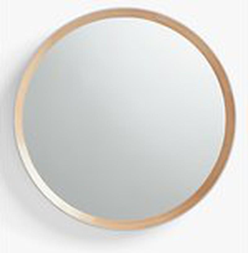 John Lewis & Partners Savina Wood Framed Round Mirror, Dia.75cm, Oak/Grey -