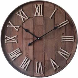 Houten en metalen ronde Romeinse klok 60cm