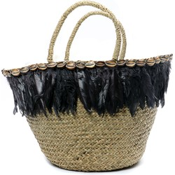 The Feather Beach Basket - Natural Black