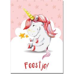 Uitnodiging Kinderfeestje Eenhoorn / Unicorn - Feestje - 20 kaartjes - DesignClaud