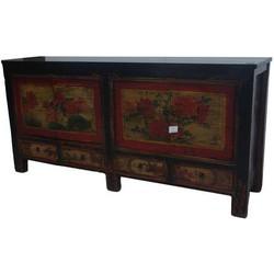 Fine Asianliving Antieke Chinese Dressoir Handgeschilderd Geel Lotus
