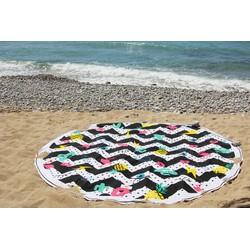 Mycha Ibiza – roundie - rond strandlaken – 100% katoen – cala embleem – gekleurd