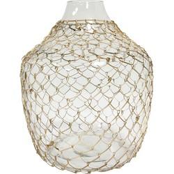 HK-living vaas transparant glas met vlechtwerk 30x30x32,5cm