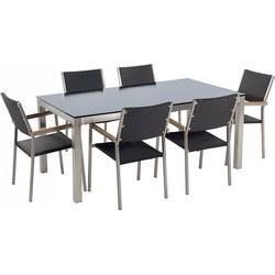 Tuinmeubel set zwart glasplaat 180 x 90 cm 6 rotan stoelen zwart GROSSETO