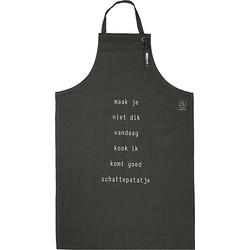 Zusss Keukenschort Katoen Antraciet 72 x 109 cm - Maak Je Niet Dik