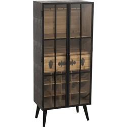 Industry - Barkast XL - vitrine - 2 glasdeuren - hout - naturel / zwart