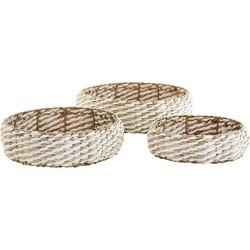 Madam Stoltz trays rond gevlochten set van 3 naturel/wit