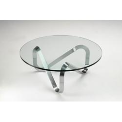 Kubikoff Ronde Salontafel Libra - Ø99 X H39 Cm - Aluminium Onderstel - Glazen Tafelblad
