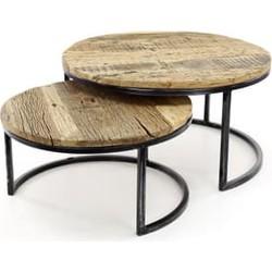 Salontafel set/2 rond/halfrond frame / Robuust hardhout