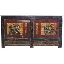 Fine Asianliving Antiek  Chinees Dressoir Handbeschilderde Gele Mudans  - China